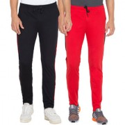 Cliths Pack Of 2 Solid Cotton Sportswear Lower for Men (Red Black)