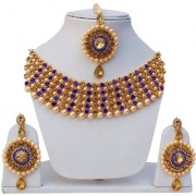 Lucky Jewellery Elegant Golden Blue Color Gold Plated Pearl And Stone Necklace Set For Girls Women