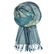 Damaskus Aqua - elegantní šála pašmína LZ11 modrá