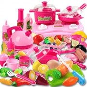 46pcs Pink Kitchen Toys Tasty Treat Pretend Plastic Play Food Set For Kids DIY Miniature Food with Fruit Vegetable Take Along Kitchen Cooking Set Toys Classic Gift for Children(Pink)
