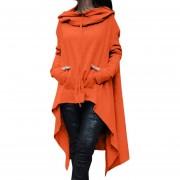Suéter Para Mujer Con Capuchado Y Irregualares - Naranja