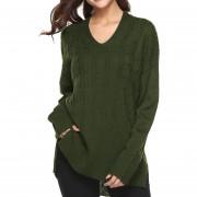 Suéter De Color Solido Y Irregular E-Thinker Para Mujer - Verde
