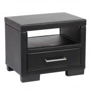 Corium® Éjjeli szekrény műbőr fiókos komód 55 x 40 x 45 cm fekete 1 fiók tárolórész