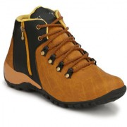 Krasiva Men's Beige Synthetic Leather Casual Boots