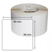 Etiketter på rulle, självhäftande, högblanka för bläck, 90*90 mm, 1000 st