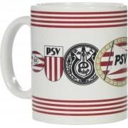 PSV - Mok - Logo's - Gevuld met luxe verpakte toffeemix - In cadeauverpakking en afgewerkt met rood wit en zwart krullint