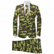 vidaXL Costum bărbați cu cravată, model camuflaj, mărime 56, 2 piese