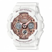 reloj digital analogico serie S casio GMA-S120MF-7A2 g-shock - blanco + oro rosa