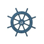 """Rustic All Light Blue Decorative Ship Wheel With Sailboat 18"""" - Wooden Ships Wh"""