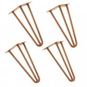 [en.casa]® Štýlové stolové nohy 3 – sada nôh (4 kusová) - 30 cm - bronzové
