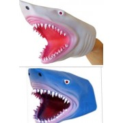 2 Pack - Soft Rubber Realistic 6 Inch Great Shark Hand Puppet (Blue and White)