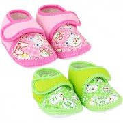 Neska Moda Pack Of 2 Baby Boys and Girls Pink and Green Bear Cotton Velcro Anti Slip Booties For 0 To 12 Months
