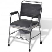 vidaXL Čierna oceľová toaletná stolička