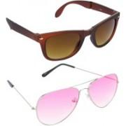 Hrinkar Wayfarer Sunglasses(Brown, Pink)
