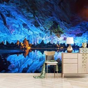 wanpaper Mural de pared para salón con diseño de cueva azul, 3D, extraíble y decoración para el hogar, 250 x 175 cm.
