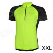 NUCKILY Montar en bicicleta Ciclismo Jersey manga corta para los hombres - Fluorescente Verde + Negro (tamano XXL)