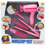 Little Treasures Fashion Hair Styling Pretend Play Pink Beauty Salon Set - Hours of Fun for Little Girls Who Enjoy Role Playing - Includes a Hairdryer a curling Iron mirror hair Scissors Comb