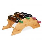 relaxdays wijnrek voor 5 flessen - flessenrek - bamboe - flessenhouder - wijnstandaard