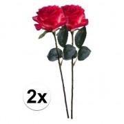 Bellatio flowers & plants 2 x Kunstbloemen steelbloem rood/gele roos Simone 45 cm