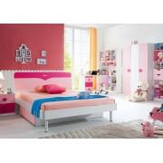 Set mobilier MDF Cute 5 piese: pat 120 200 cm cu 1 sertar depozitare noptiera dulap 3 usi birou si scaun pentru camera copii