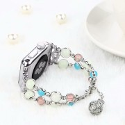 Unique Handmade Luminous Night Pearl Wrist Band Strap for Apple Watch Series 5 4 40mm / Series 3 2 1 38mm - Silver