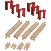 Chuggington Lemn - Set sine cu piloni, 14 piese