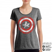 Captain America Distressed Shield Performance Girly Tee