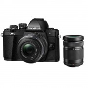 Olympus OM-D E-M10 Mark II Aparat Foto Mirrorless 16MP MFT Full HD Kit cu Obiectiv EZ-M 14-42mm F3.5-5.6 IIR si EZ-M 40-150mm F4.0-5.6 R Negru