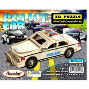 Puzzled Police Car 3d Natural Wood Puzzle