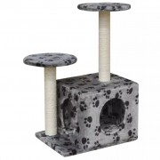 vidaXL Cat Tree Scratching Post 64 cm1 House Grey with Paw Prints
