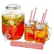 Set servire bauturi din sticla cu dozator 4 Litri, 4 Borcanase 450ml, 20 paie, AJ001312