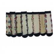 FOOT QUEEN Pack of 8 Skin Ultra-Thin Transparent Multi Print Nylon Summer Skin Socks for Women/Girl's (Ankle Length)