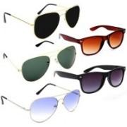 INSH Wayfarer, Aviator Sunglasses(Black, Black, Blue, Green, Violet)