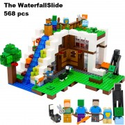 Model building blocks kits compatible with lego 21134 lepin 18028 my worlds Minecraft Waterfall House Building Blocks