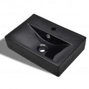 vidaXL Keramički Kupaonski Umivaonik sa Zaštitom od Prelijevanja Crni Pravokutni