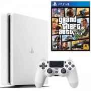 Конзола SONY PlayStation 4 Slim, 500GB, Бяла + Игра GTAV (GTA5): Grand Theft Auto V за PS4