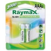 Raymax Batteries Blister 2 Batterie Ricaricabili Mini Stilo AAA 1000 mAh