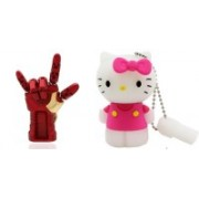 DARK EDGE Iron Man Hand 32 GB Pen Drive Metal Hand with Glowing LED Hand With Kitty Cat 16 GB Pen Drive Pack of 2 Pendrive 32 GB Pen Drive(Red, Gold)