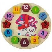 Jysk Partivarer Lär klockan - Klocka med visare och siffror med bitar - i trä