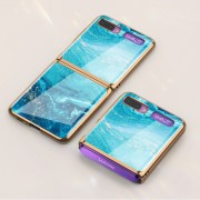 GKK Folding Painted Tempered Glass Phone Case for Samsung Galaxy Z Flip - Blue Seawater