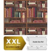 Grafisch behang EDEM 81155BR26 vliesbehang hardvinyl warmdruk in reliëf gestempeld met boeken mat rood bruin groen beige 10,65 m2