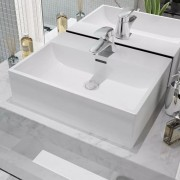 vidaXL Basin with Faucet Hole Ceramic White 51.5x38.5x15 cm