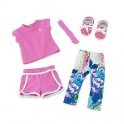18 Inch Doll Clothes | Amazing Mix and Match Running Exercise Outfit, Includes Pink Shorts, Matching T-Shirt, Multi-color Leggings and Cool Pink Sneakers | Fits American Girl Dolls by Emily Rose Doll Clothes