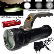 1000 Meter Long Beam 3 Mode Rechargeable Waterproof Metal LED Flashlight Torch Searchlight Outdoor/Emergency Light 18W