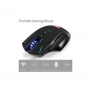 Combatwing W100 Rechargeable 2.4G Wireless Wired Gaming Mouse With 8 Buttons, Optical Game Mice With 4 Adjustable DPI (1000 1600 2000 2400), 3 Colors Lights For Game PC Notebook And Mac (Black)