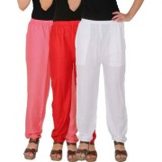 Culture the Dignity Women's Rayon Solid Casual Pants Office Trousers With Side Pockets Combo of 3 - Baby Pink - Red - White - C_RPT_P2RW - Pack of 3 - Free Size