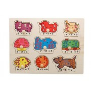 Joyeee Joyeee 9 Pcs Wooden Matching Pegged Puzzles - Creative Wood Educational Shape and Color Puzzle - Perfect Christmas Gift Idea