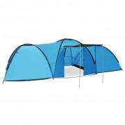 vidaXL Палатка за къмпинг тип иглу, 650x240x190 см, 8-местна, синя