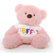 Pink 2 feet Fur Face Big Teddy Bear wearing a BFF T-shirt