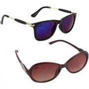 Aligatorr Combo Of 2 Cat Eye Wayfarer Unisex Sunglasses ldy brnbbmerCRLK
